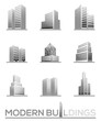Modern buildings perspective view vector icons