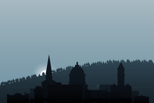Montpelier Skyline. The Capital Of The U.S. State Of Vermont. City Skyline In The Morning. Morning Haze Over The City.