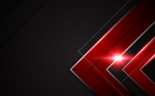 Abstract Modern Metallic Red Black Frame Sports Gamer Tech Concept Background Layout
