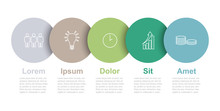 Five Step Circle Vector Infographic Template With Icons