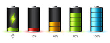Discharged And Fully Charged Battery Smartphone - Vector Infographic