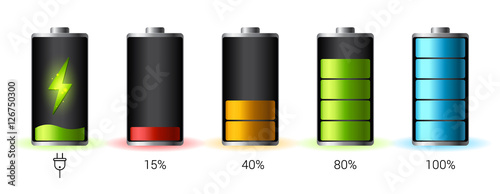 Obraz Discharged and fully charged battery smartphone - vector infographic - fototapety do salonu