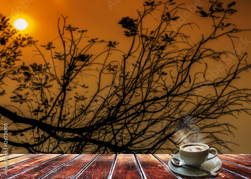 Photo  Silhouette of tree branch during twilight sky and sun set with g