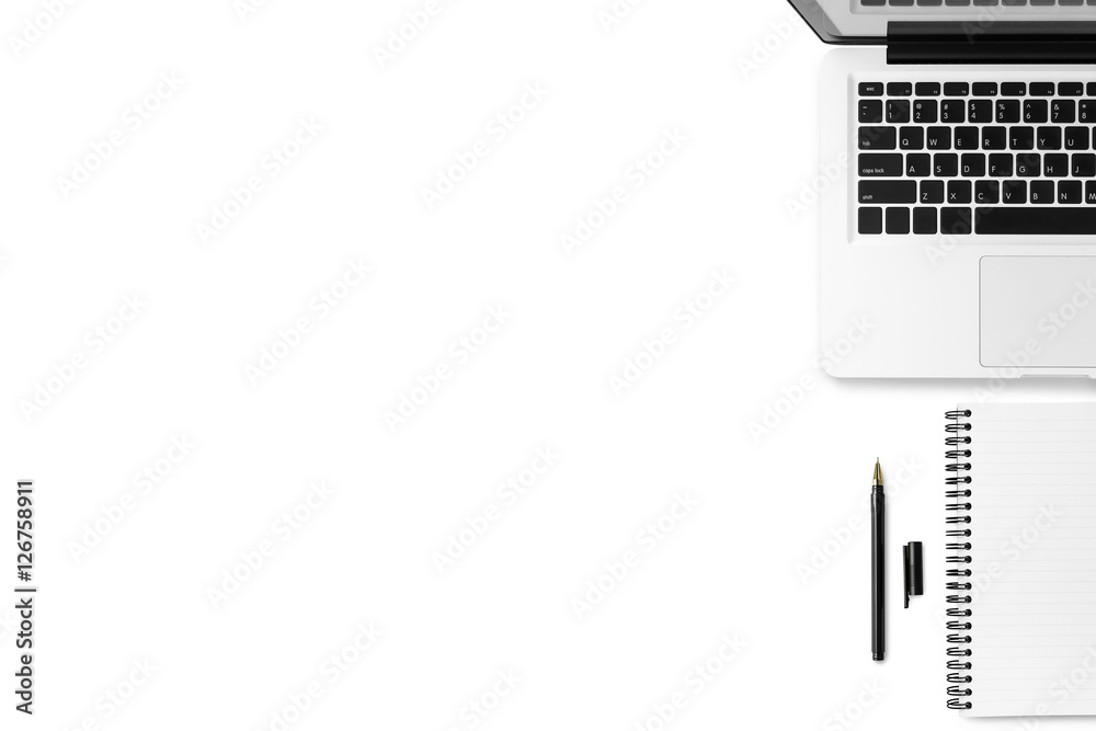 Fototapety, obrazy: White minimal office desk table with laptop, notebook and pen. Top view with copy space, flat lay.