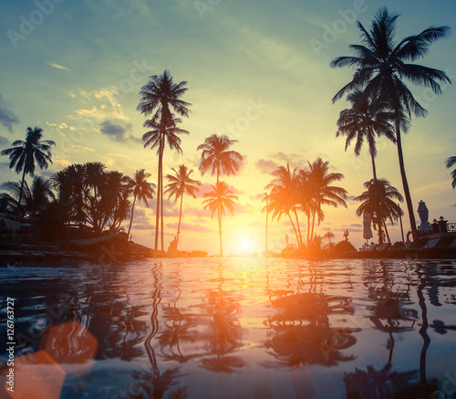 Foto op Aluminium Bomen Amazing sunset on sea beach with palm tree.