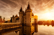 Chateau Of Sully-sur-Loire At Sunset, France. Medieval Castle In Loire Valley In Summer.