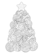 Christmas Tree Adult Coloring Page. Winter Holiday Vector Illustration.