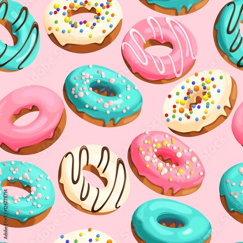 Glazed donuts seamless Canvas Print