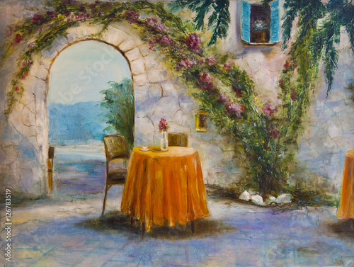 Art Oil-Painting Picture Summer Cafe - 126783519
