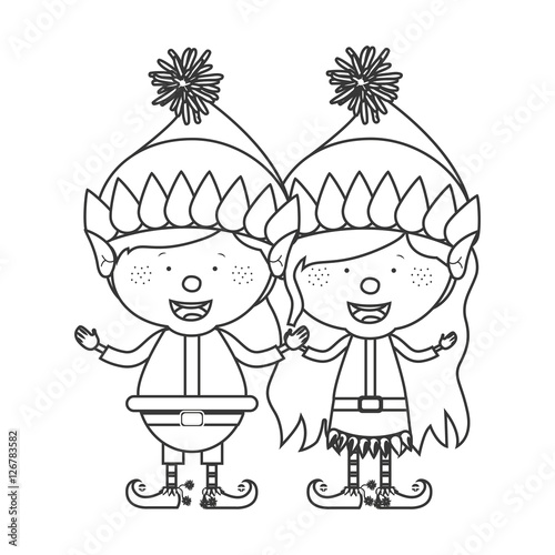 Christmas Gnome Drawing.Contour With Couple Of Christmas Gnome Children Vector