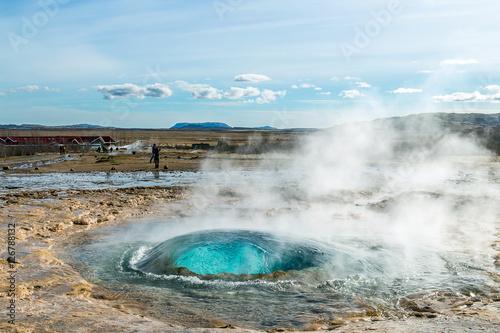 Obraz na płótnie Geysir, the father of the geysers, erupting. Iceland