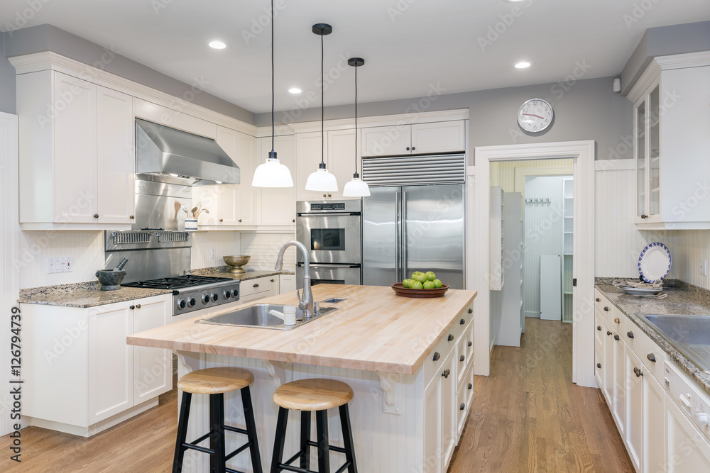 Fototapety, obrazy: Amazing Luxury Kitchen Interior in white with wooden floor and kitchen island.
