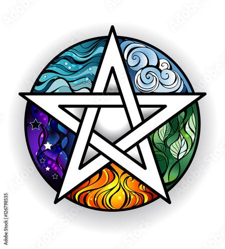 Photo  Beautiful bright pentagram