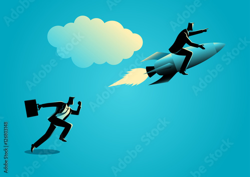 Photo Running businessman racing with a businessman on rocket