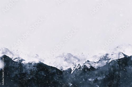 Góry krajobraz w zimie, cyfrowy akwarela obraz