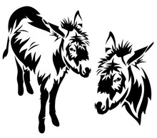 Donkey Black And White Vector ...