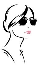 Fashion Girl Wearing Sunglasses Vector Design