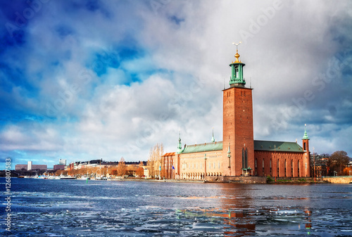 Keuken foto achterwand Stockholm The City Hall Stadshuset in Stockholm with winter ice, Sweden, toned