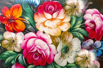 Panel Szklany Kwiaty Flowers, Oil Painting, Impressionism style, Still life art color