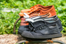 Black And Brown Canvas Shoes D...