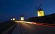 Blue sky and windmills at night in Consuegra, Toledo province, Castilla La Mancha.