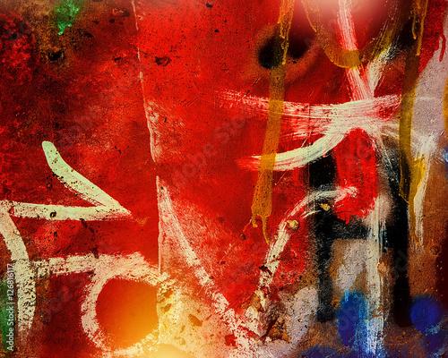 Plakat ślady uderzeń farb w różnych kolorach
