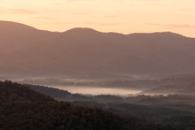 The Blue Ridge Mountains Near Roanoke, Virginia, Early In The Morning With Mist In The Valleys