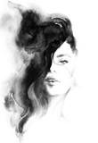 kobieta portret .abstract akwarela .fashion tło - 126820394