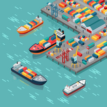 Cargo Port Vector Concept In Isometric Projection
