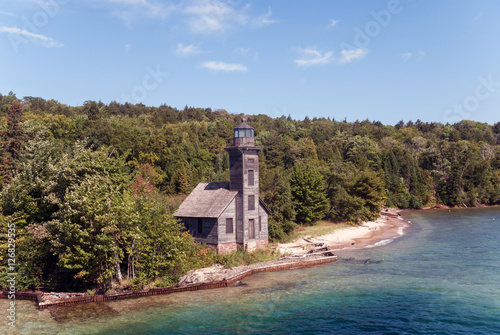 The Grand Island East Channel Light is a lighthouse located just north of Munising, Lake Superior, Michigan, USA