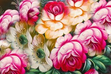 FototapetaFlowers, Oil Painting, Impressionism style, Still life art color