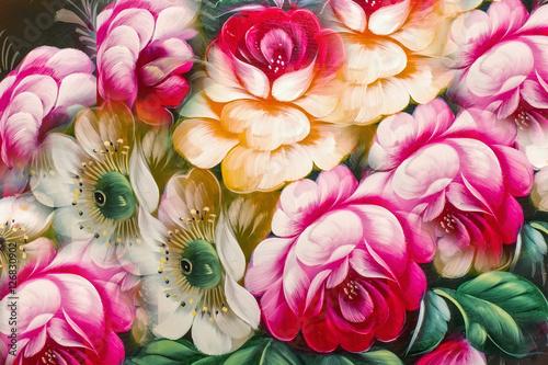 Kwiaty, obraz olejny, styl impresjonizmu, kolor martwej natury