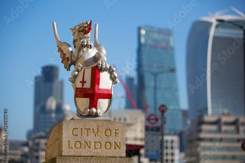 Fototapeta City of London modern business aria view from the London Bridge.