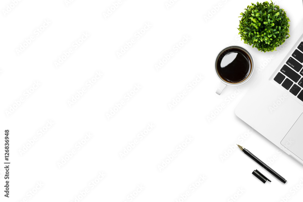 Fototapety, obrazy: White desk office table with laptop, coffee and pen. Top view with copy space, flat lay.