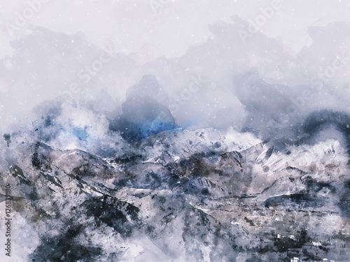 Mountains landscape in winter, digital watercolor painting - 126839180