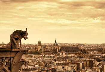 Gargoyles of the Cathedral of Notre Dame de Paris overlooking Pa