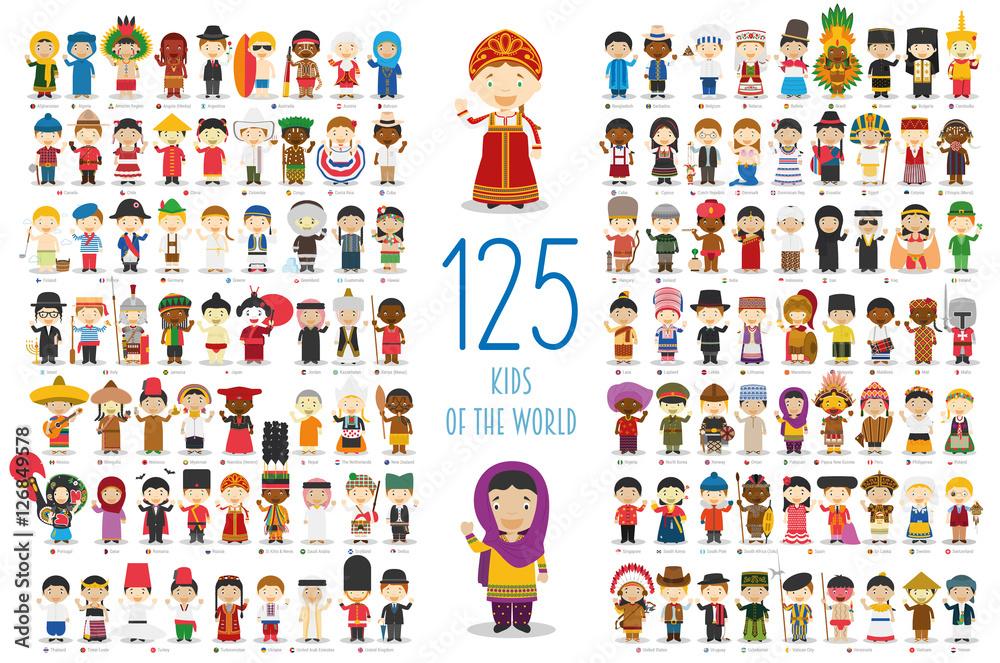 Kolekcja Kids of the World Vector: Zestaw 125 dzieci różnych narodowości w stylu kreskówek.