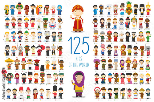 Kids of the World Vector Characters Collection: Set of 125 children of different nationalities in cartoon style.