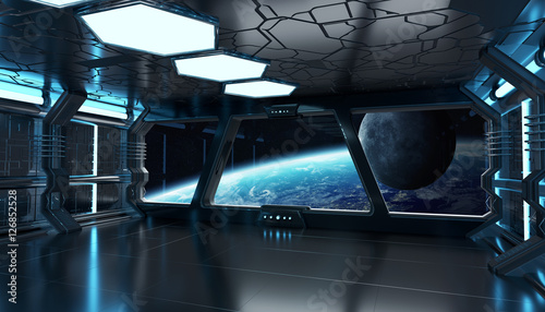 Photo Spaceship interior with view on the planet Earth 3D rendering el