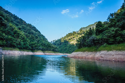 Printed kitchen splashbacks River The lake and mountains scenery with blue sky