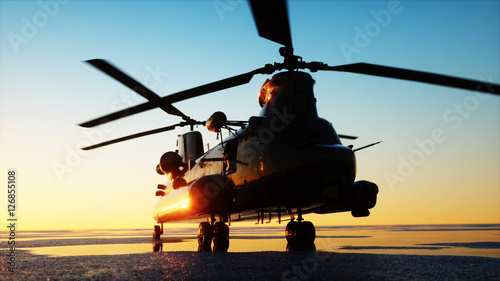 Fényképezés  Military helicopter chinook, wonderfull sunset. 3d rendering.