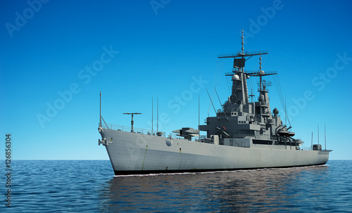 American Modern Warship In The Ocean Canvas Print