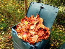 Compost Bin Full Of Autumn Leaves To Provide Leaf Mulch