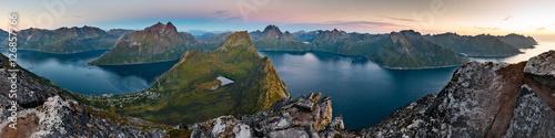 Door stickers Northern lights View from Beautiful Segla Mountain, Senja, Norway