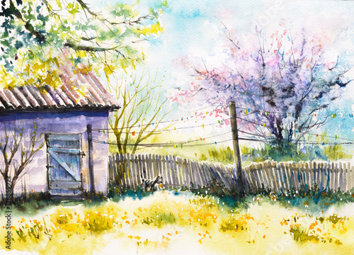 podworko-na-wiosne-obraz-stworzony-akwarelami