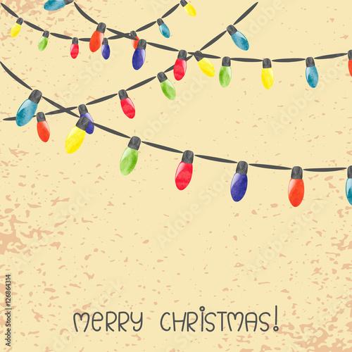 vintage christmas lights vector watercolor illustration