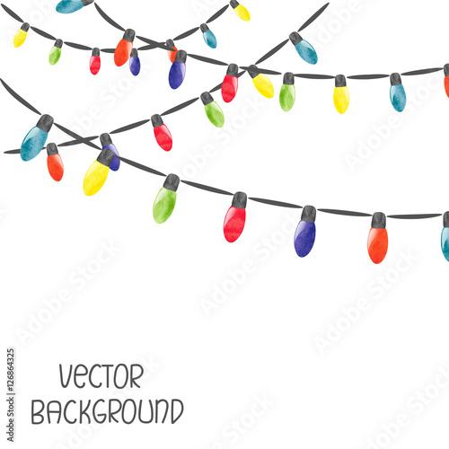 Fototapeta Christmas lights isolated on white background. Vector watercolor illustration obraz na płótnie