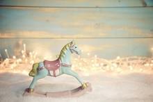 Grußkarte - Weihnachtlich  - Schaukelpferd Im Lichterglanz