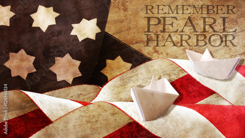 Remember Pearl Harbor. Flag Waves on Wood and Paper Boat Wallpaper Mural