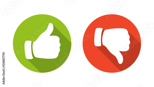 Fotografía  Thump Up and Thump Down Hands - vector illustration